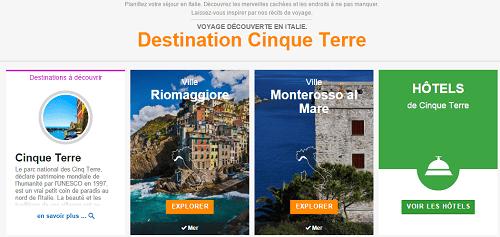 Page destination Cinque Terre Venere